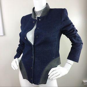 Bcbg maxazRia blue wool structured bomber jacket s